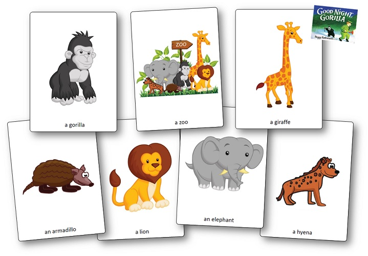 picture regarding Zoo Animal Flash Cards Free Printable identify Favourable Night time Gorilla via Peggy Rathmann : Printable Actions