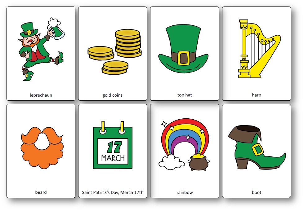 Saint Patrick's Day Flashcards, Saint Patrick's Day Vocabulary Pictures