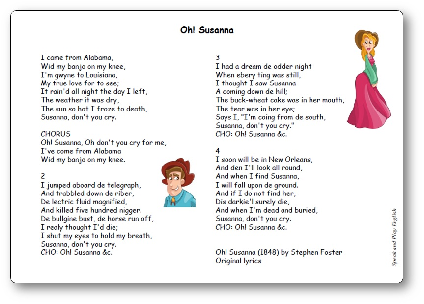 Oh! Susanna by Stephen Foster - Original Lyrics, printable lyrics oh susanna