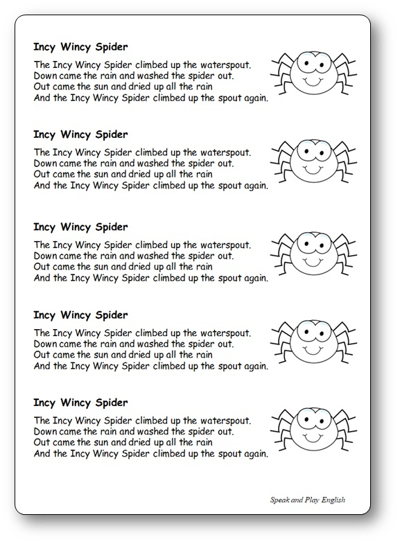 Incy Wincy Spider Nursery Rhyme Lyrics