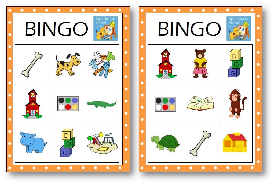 Spot Goes to School Bingo Game Printable, Spot Goes to school printable