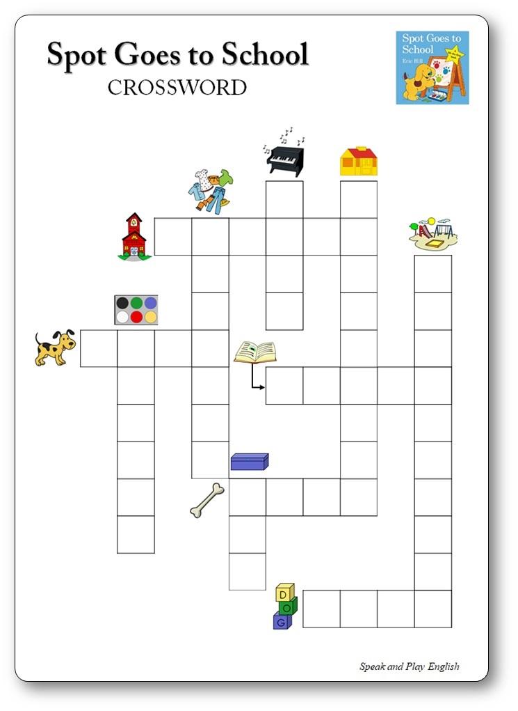 Crossword Printable Spot Goes to School, Spot Goes to school printable