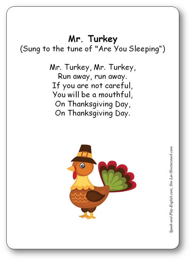 Mr Turkey Thanksgiving Nursery Rhyme Sung To The Tune Of Are You Sleeping
