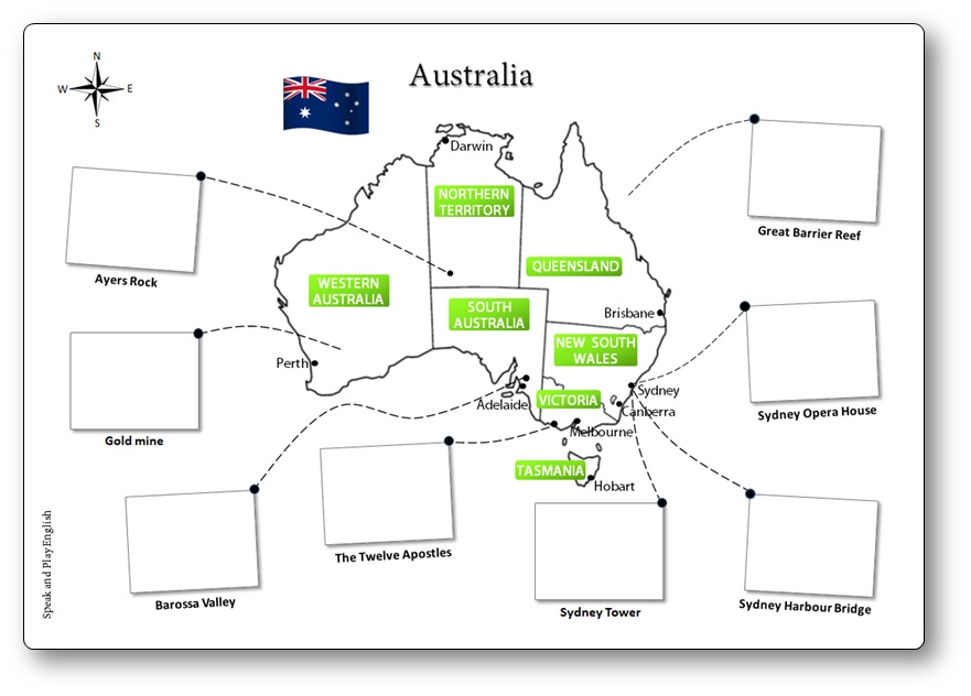 graphic relating to Printable Map for Kids known as Printable Australia Illustrated Map for Young children