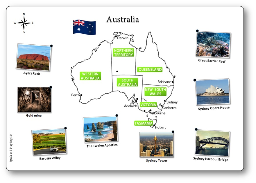 picture about Printable Australia Map called Printable Australia Illustrated Map for Kids