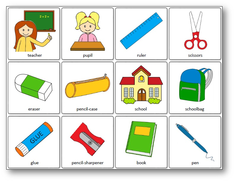Classroom Objects Memory Game, memory school