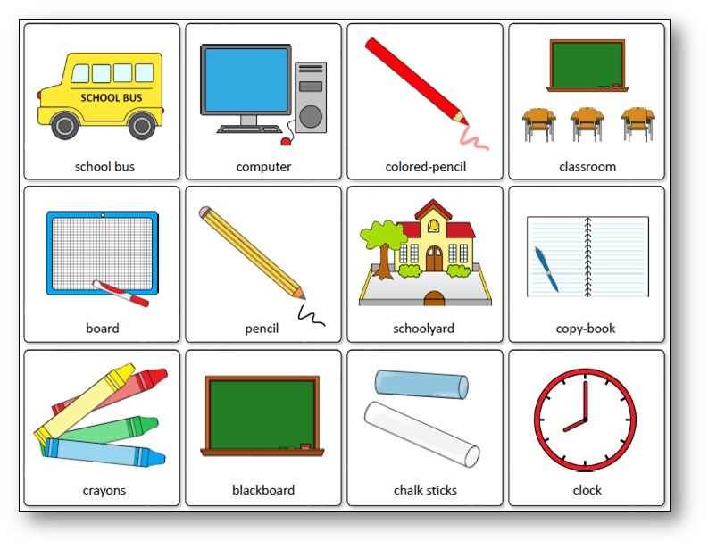 Matching Game School Supplies, Classroom Objects Memory Game