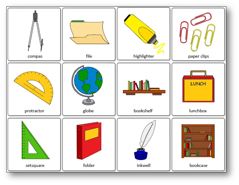 School Supplies Matching Game, Classroom Objects Memory Game