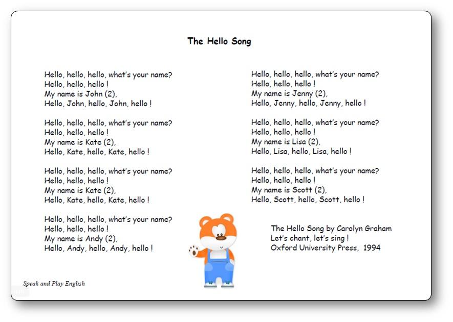 The Hello Song by Carolyn Graham, the hello song carolyn graham lyrics
