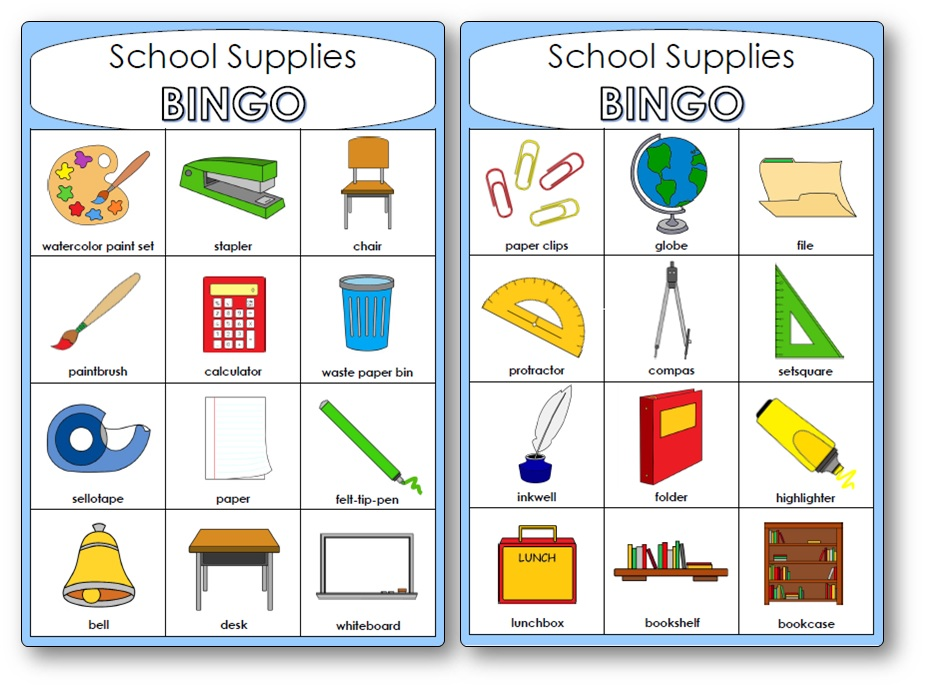 School Supplies Bingo, Classroom Objects Bingo for Kindergarten