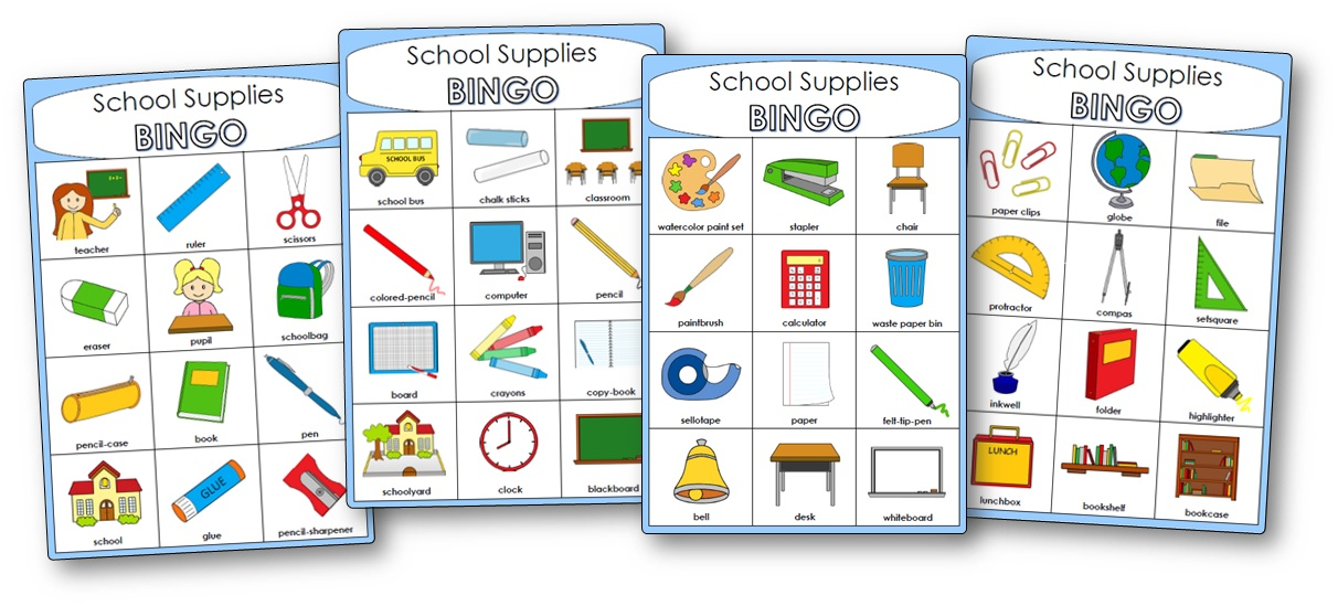 School Supplies Bingo