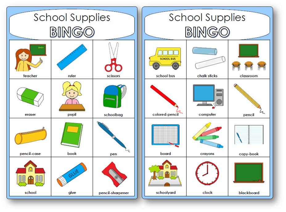School Supplies Bingo, school supplies bingo game vocabulary