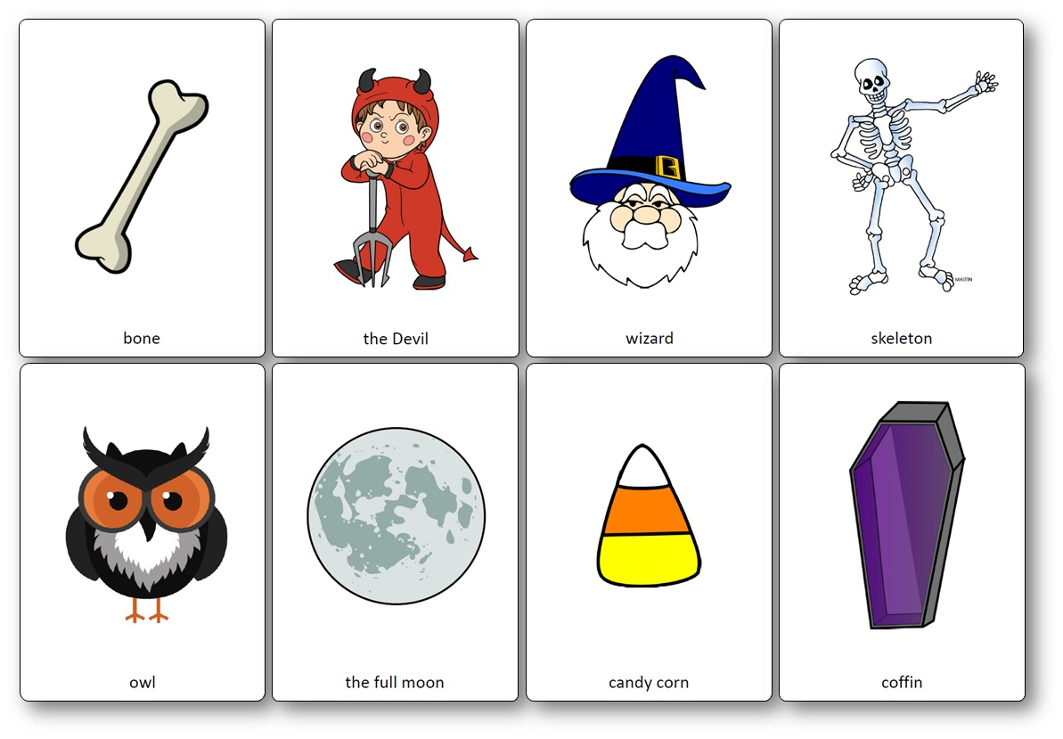 image about Printable Holloween Pictures named Halloween Flashcards - Cost-free Printable Flashcards in direction of Down load