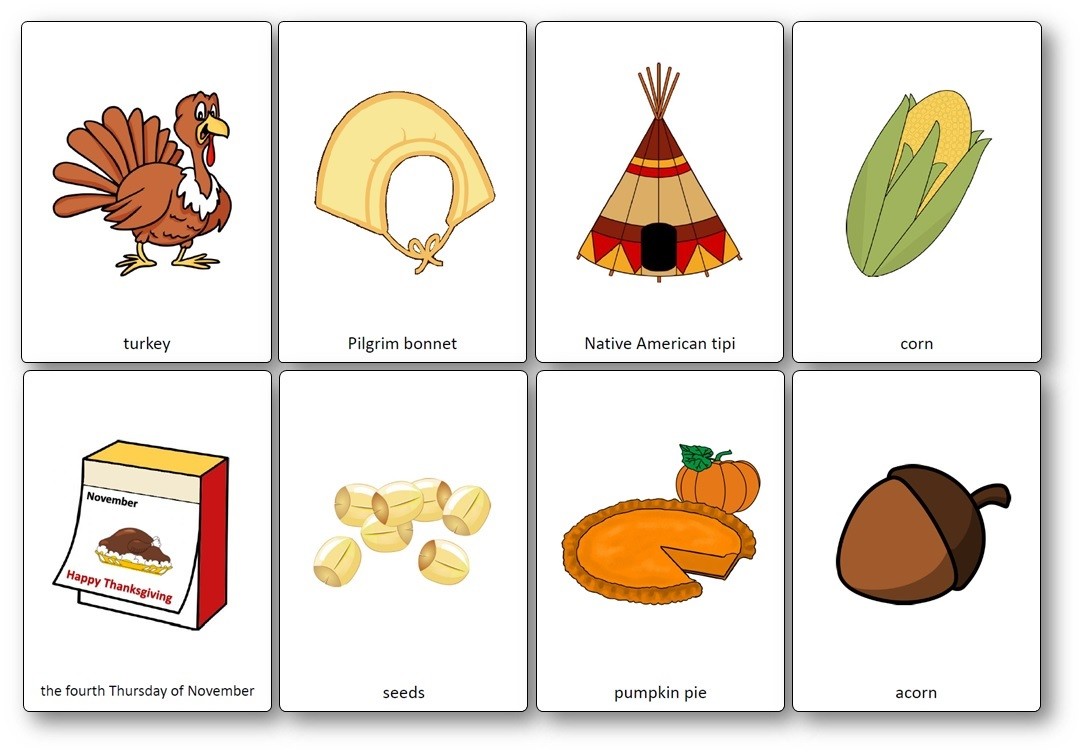 Free Printable Flashcards Thanksgiving Day