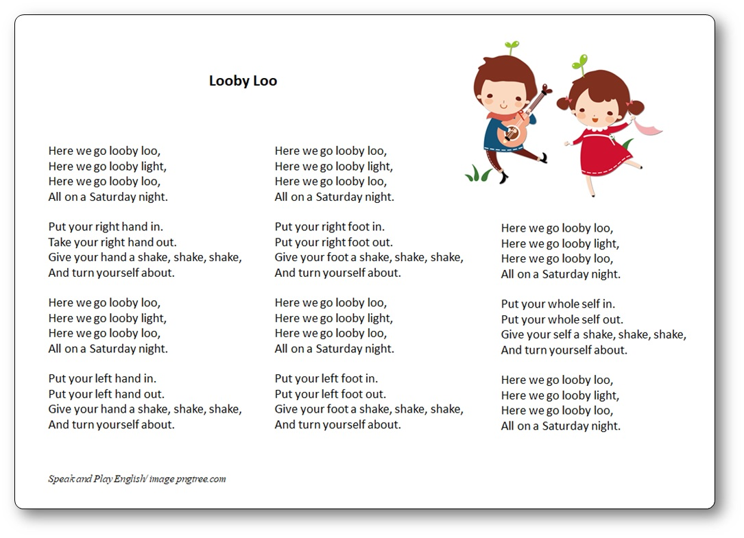 Looby Loo Song – here we go looby loo Lyrics in English and translation in French – Free Printables