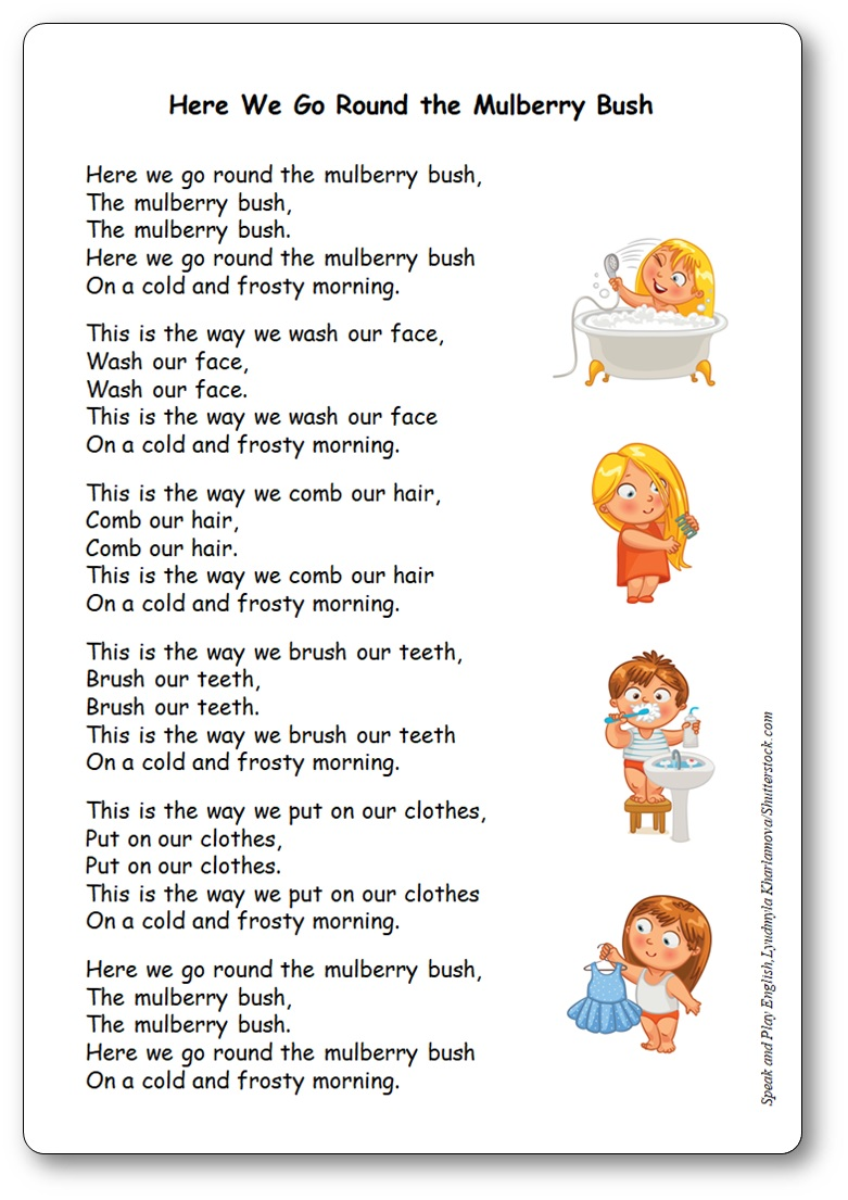 Here We Go Round the Mulberry Bush Lyrics in French and in English – Free Printable