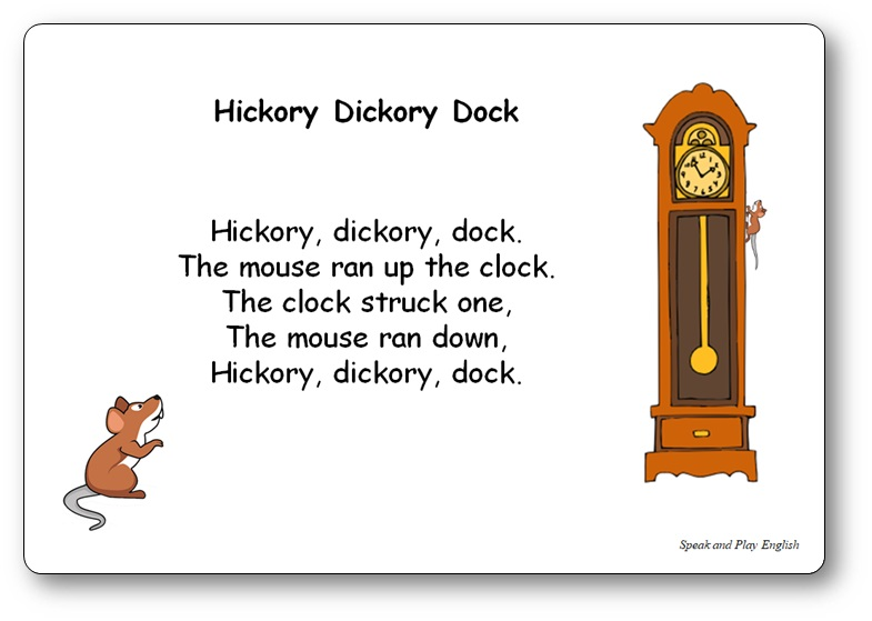Hickory Dickory Dock - Nursery Rhyme Song with Lyrics in French and in English for Toddlers - Free Printable Kindergarten Nursery Rhyme