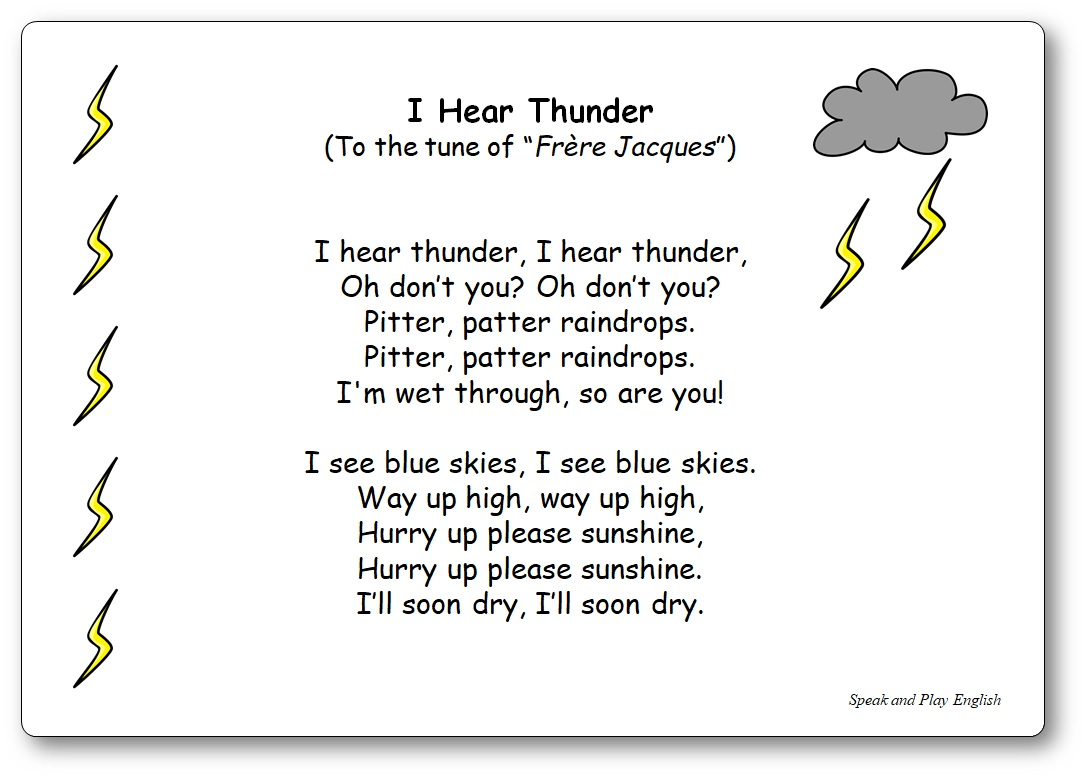 Nursery Rhyme I Hear Thunder with Lyrics and Music, i hear thunder lyrics nursery rhyme
