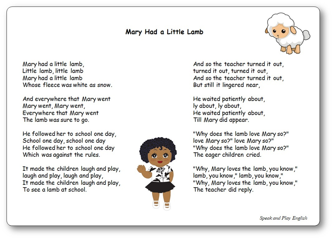 Mary Had a Little Lamb complete lyrics download, Mary had a little lamb lyrics printable