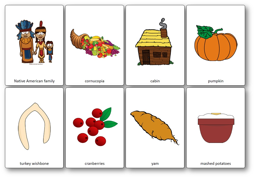 Thanksgiving Flashcards for Kindergarten