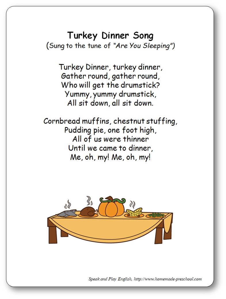 Turkey Dinner Song with Lyrics and video for kindergarten, Turkey Dinner Song lyrics and video
