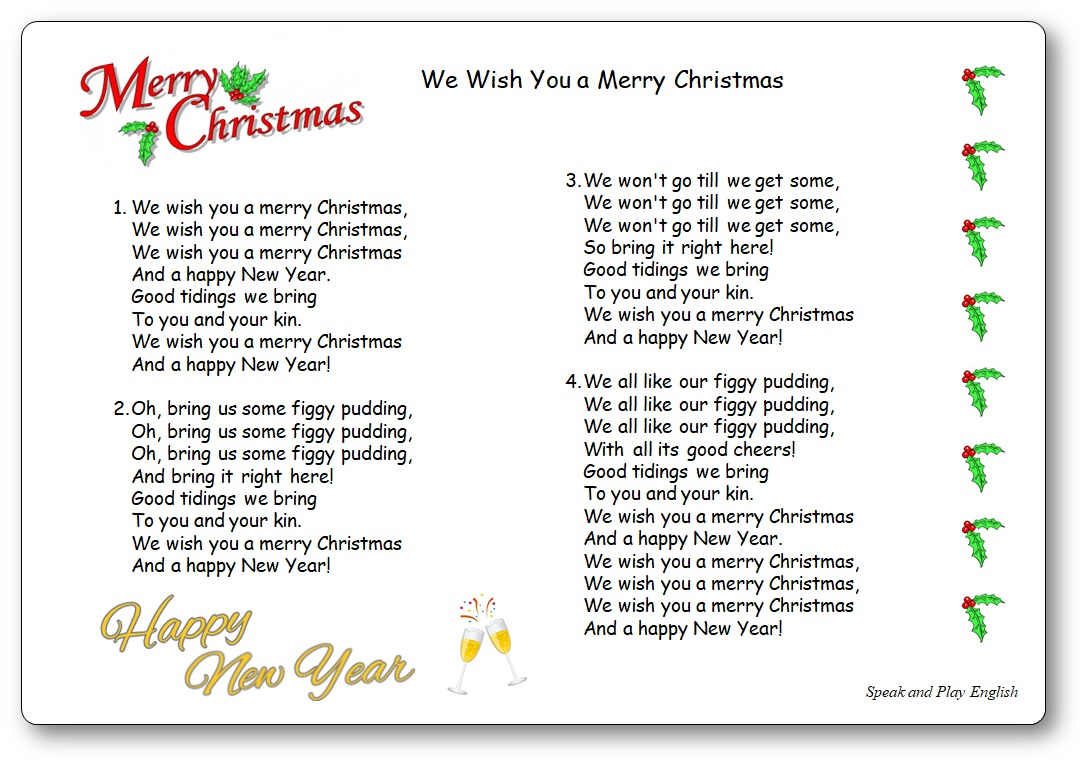 picture relating to Merry Christmas Printable called We Drive By yourself a Merry Xmas - Printable Lyrics - Talk and