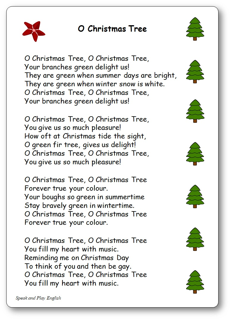 photo regarding Lyrics to We Wish You a Merry Christmas Printable named O Xmas Tree, Lyrics in just English and within French - O