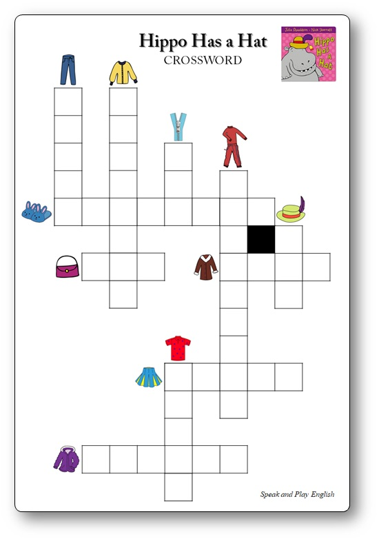 Hippo Has a Hat Worksheet PDF Printables and Crossword Games