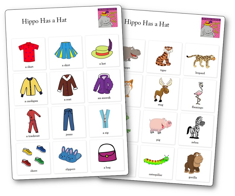 Hippo Has a Hat Preschool activities, Hippo Has a Hat Words