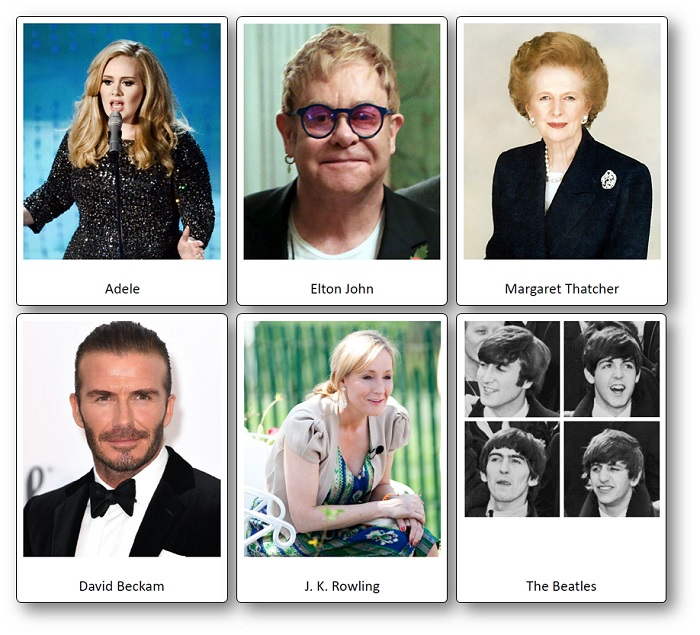 famous celebrities of England pictures cards