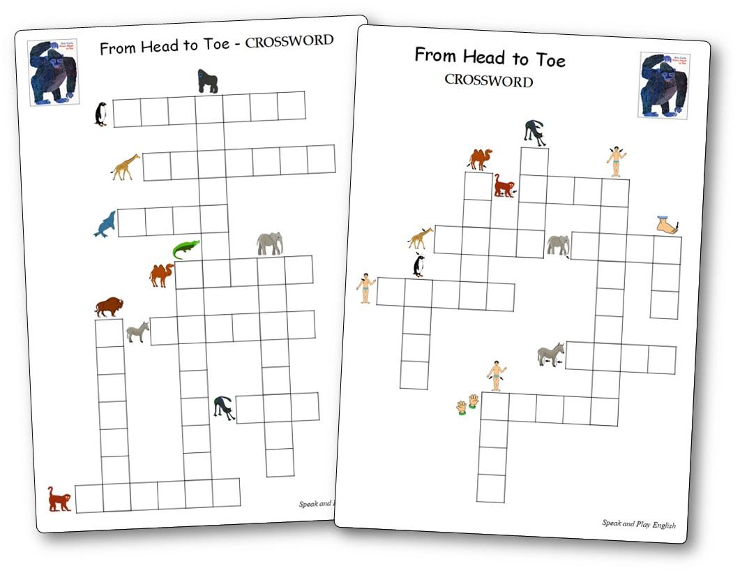 From Head to Toe Crossword Vocabulary PDF