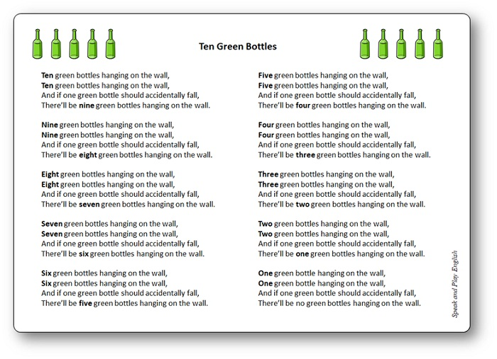 Ten Green Bottles Nursery Rhyme Song with Lyrics, Ten Green Bottles lyrics in French