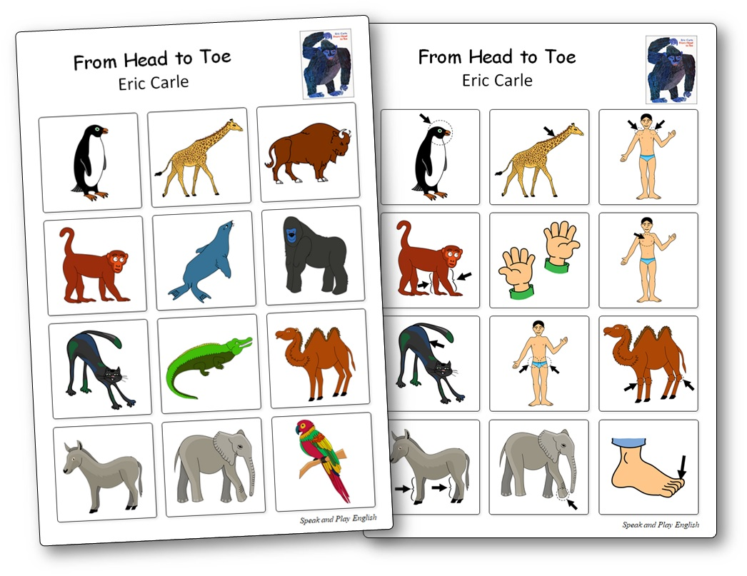 Matching Game From Head to Toe Eric Carle, from head to toe activities free for toddlers