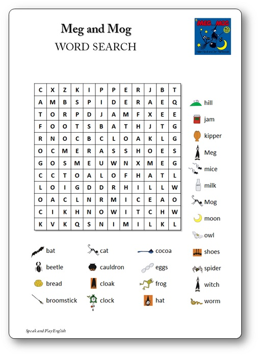 Meg and Mog Word Search