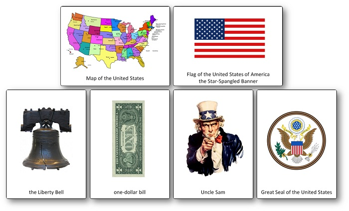 United States Picture Cards: Symbols, Flags, Emblems and Cultural Icons