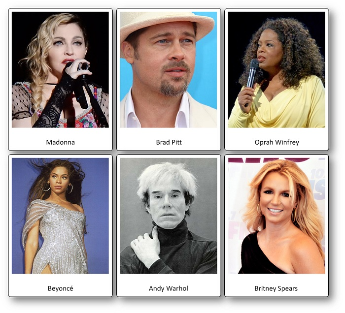 Famous people of the United States Picture Cards