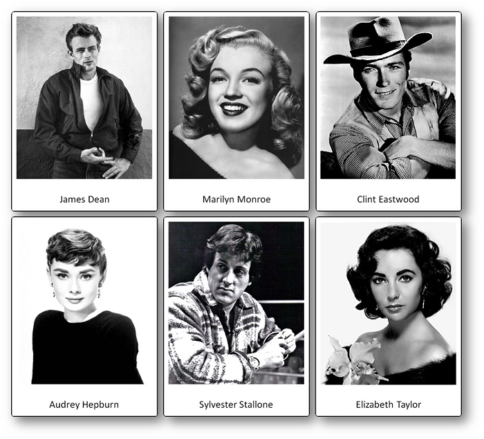 Famous actors of the United States Picture Cards