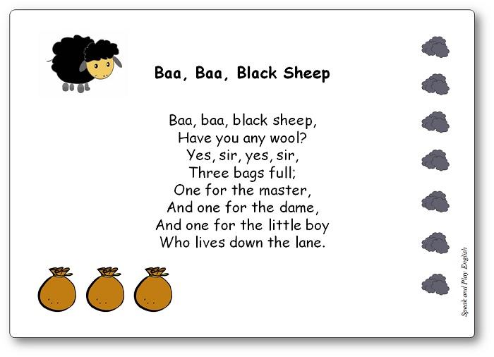 Baa Baa Black Sheep Song with Lyrics Printable, Baa Baa Black Sheep lyrics