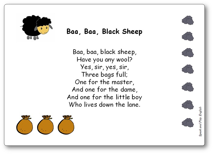Baa Baa Black Sheep Nursery Rhyme Song With Lyrics In French And In English