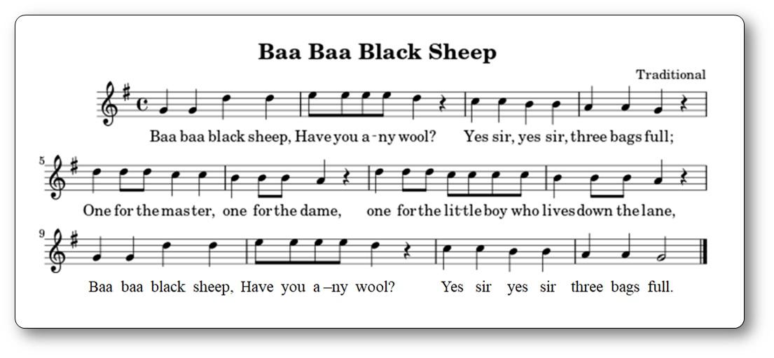 Song Baa Baa Black Sheep Music Sheet Printable
