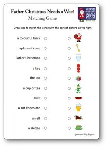 Father Christmas Needs a Wee worksheet Matching Game