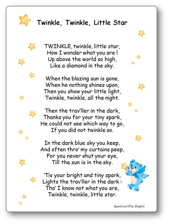 Twinkle Twinkle Little Star in French and in English, song lyrics