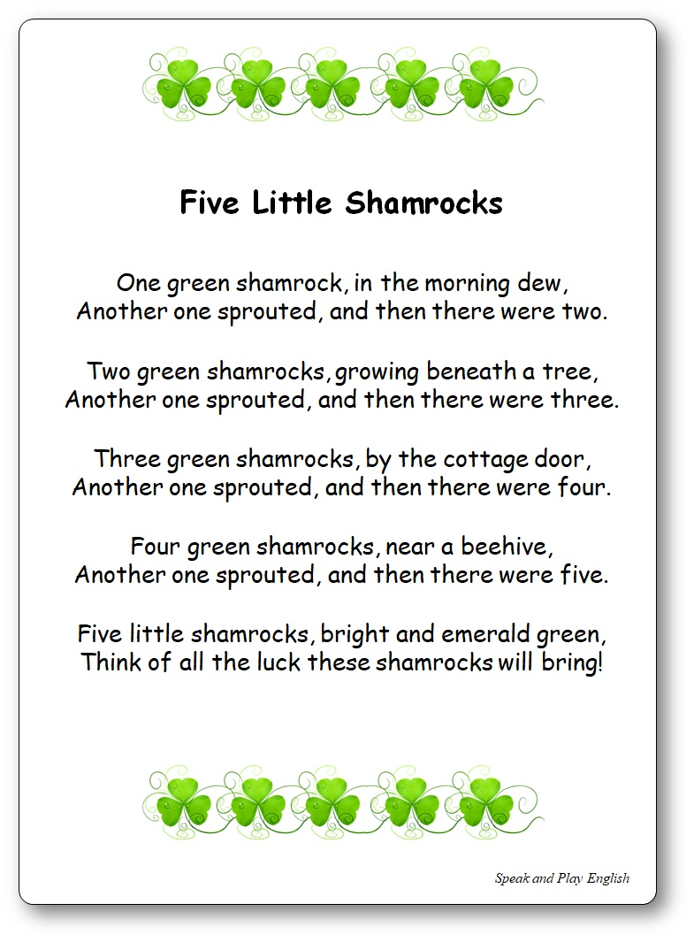 Five Little Shamrocks song, Five Little Shamrocks Lyrics