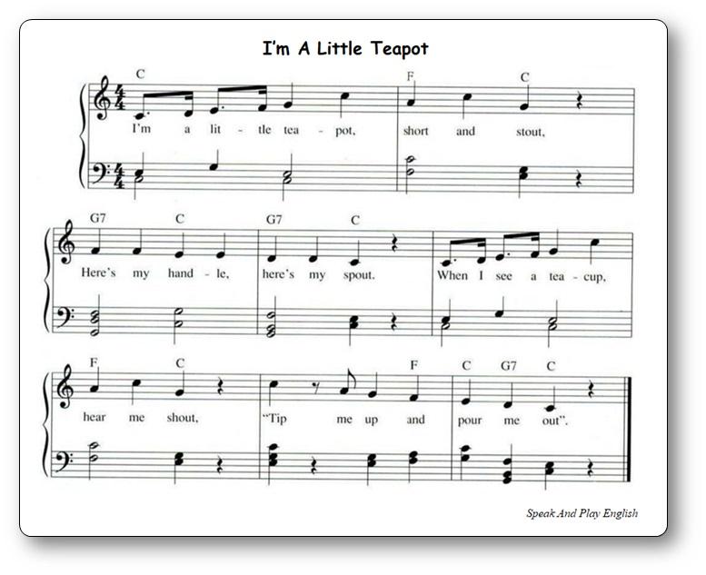 Music Sheet I'm a Little Teapot Free Printable