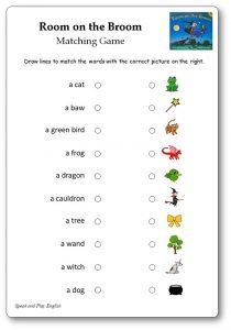Room on the Broom Matching Game Worksheet Free Printable