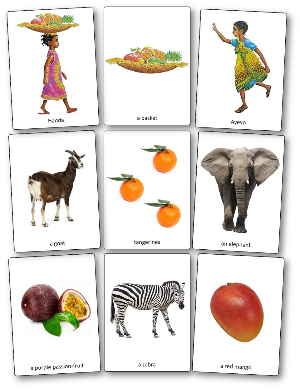 Handa's Surprise Picture Cards images, Handa's Surprise Printable