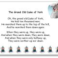 The Grand Old Duke of York Song Lyrics Printable