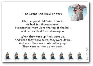 The Grand Old Duke of York Song Lyrics Printable