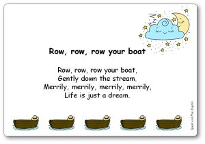 Row Row Row Your Boat Song with Lyrics in English and in French