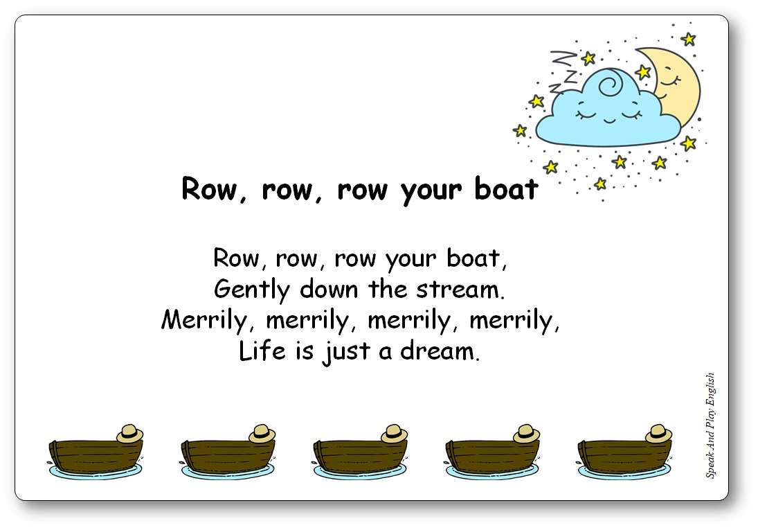 Row Row Row Your Boat Song with Lyrics in English and in French, Row Row Row Your Boat Lyrics in French